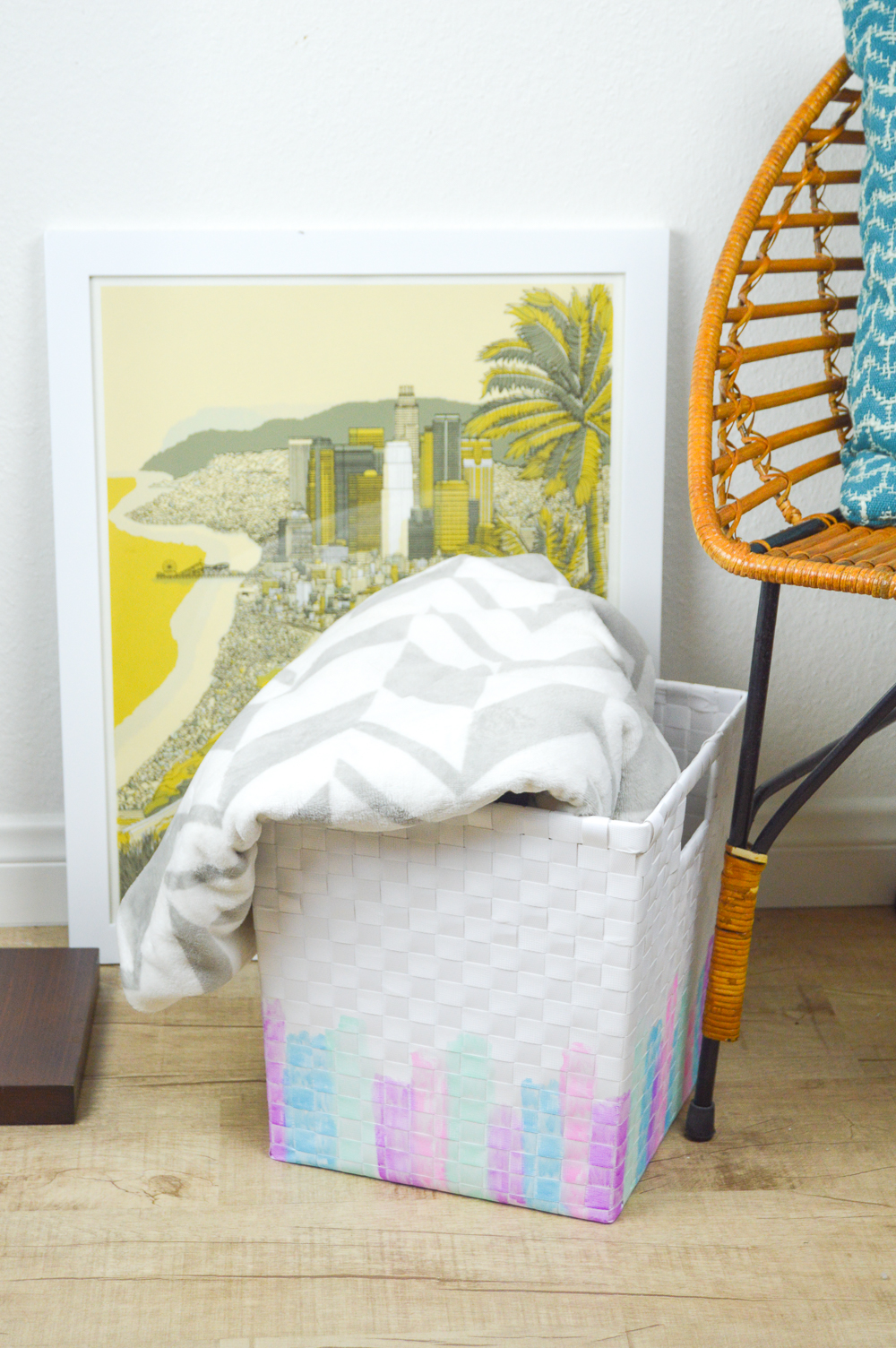 DIY Watercolor Basket Makeover   www.clubcrafted.com