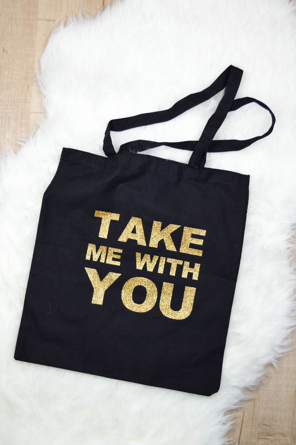 DIY Glittery Graphic Tote Bag