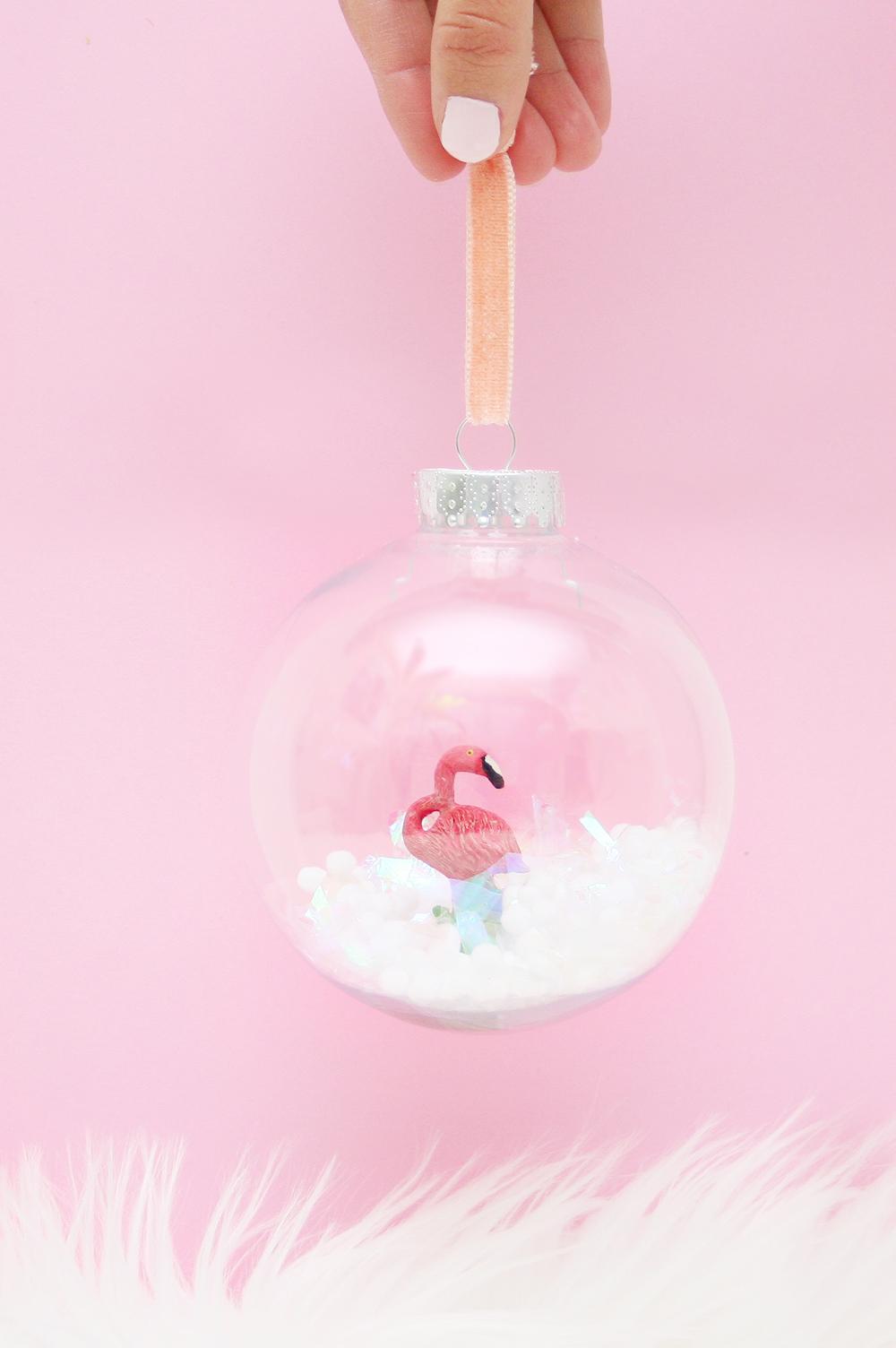 DIY Flamingo Snow Globe Ornament | Club Crafted