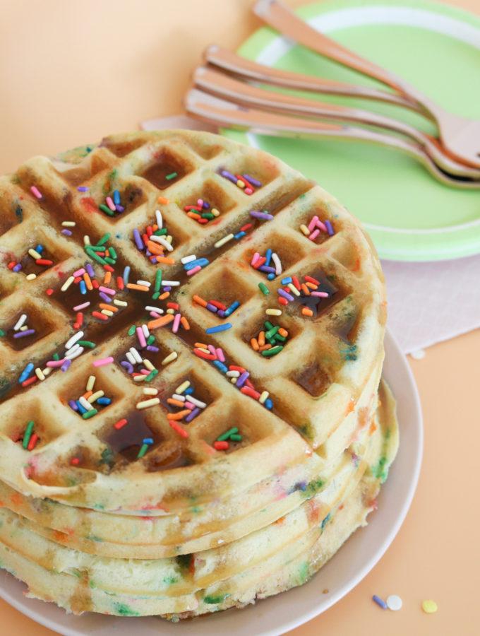 Funfetti Cake Batter Waffles