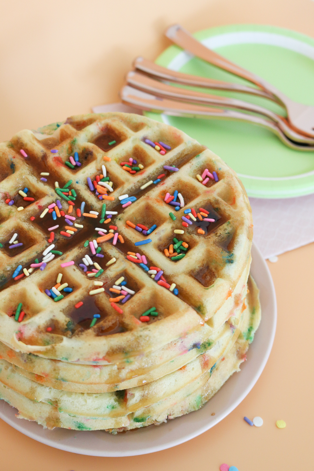 Funfetti Cake Batter Waffles | Club Crafted