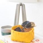 DIY Leather Woven Storage Basket