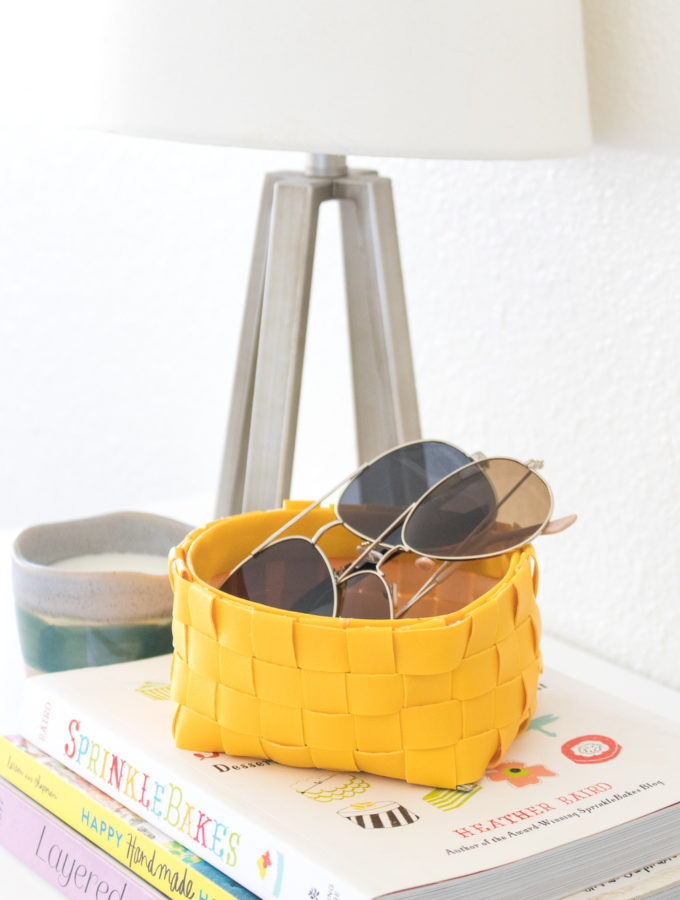 DIY Leather Woven Storage Basket
