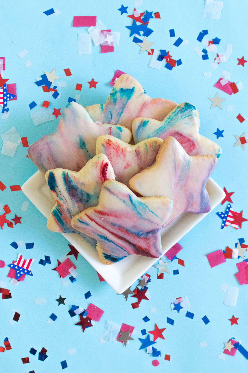 Red, White + Blue Marbled Sugar Cookies for 4th of July | Club Crafted