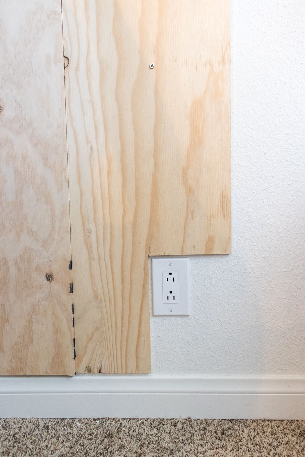 Renter friendly diy plank accent wall club crafted for Plywood wall sheathing