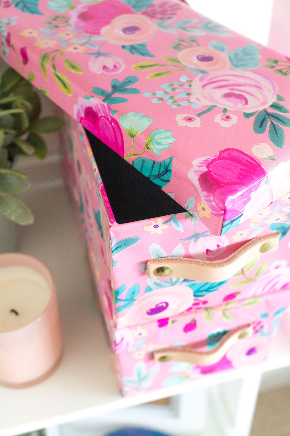 DIY Wrapping Paper Covered Boxes with Leather Handles | Club Crafted