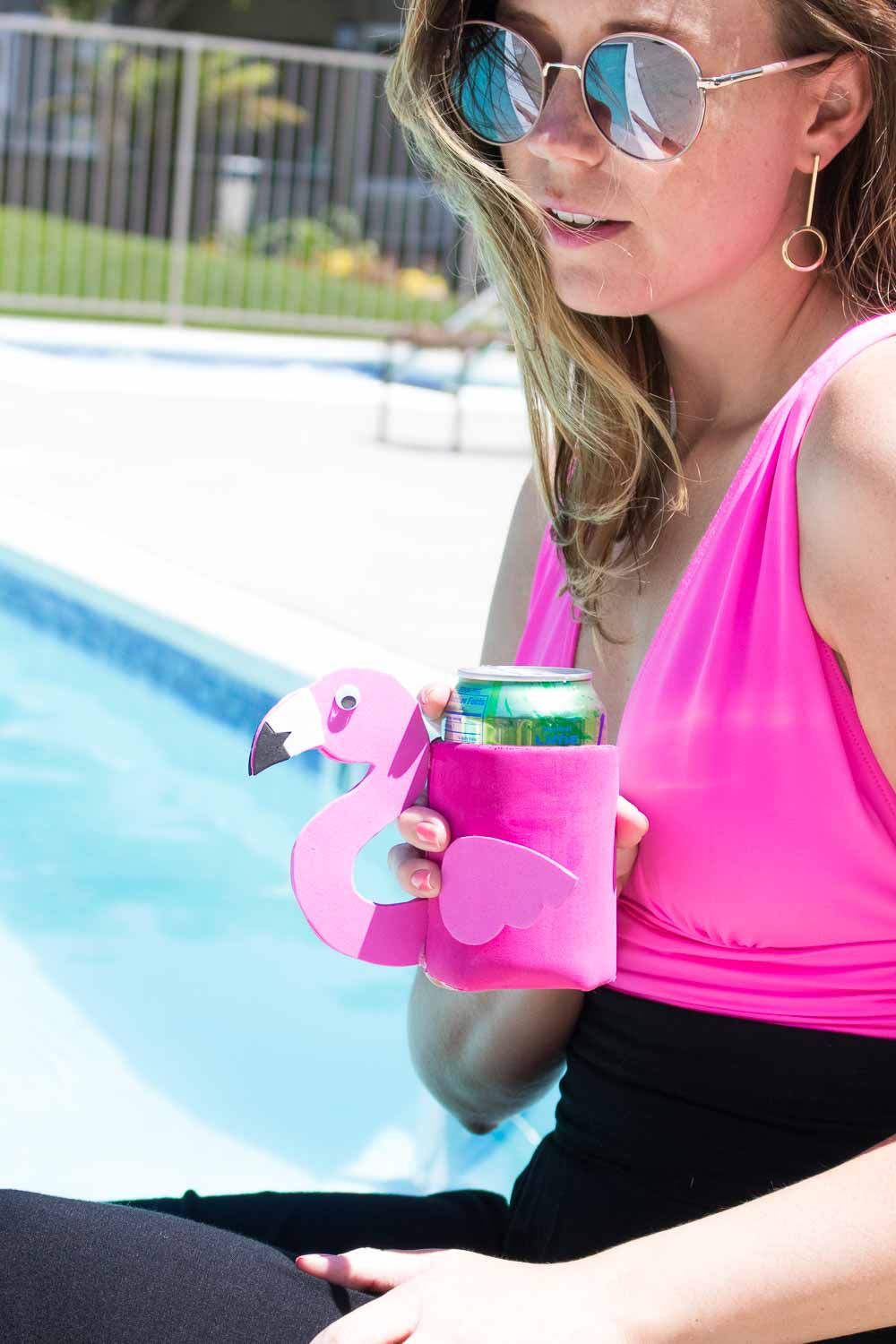 DIY Flamingo Can Cooler   Club Crafted