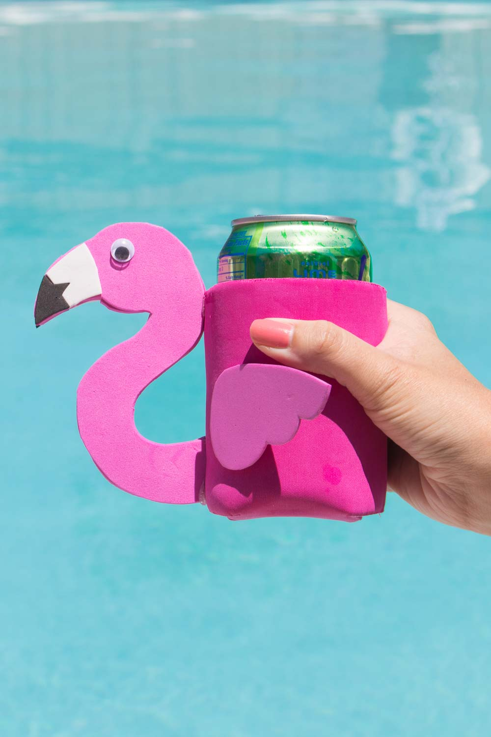DIY Flamingo Can Cooler + Free Template! - Club Crafted
