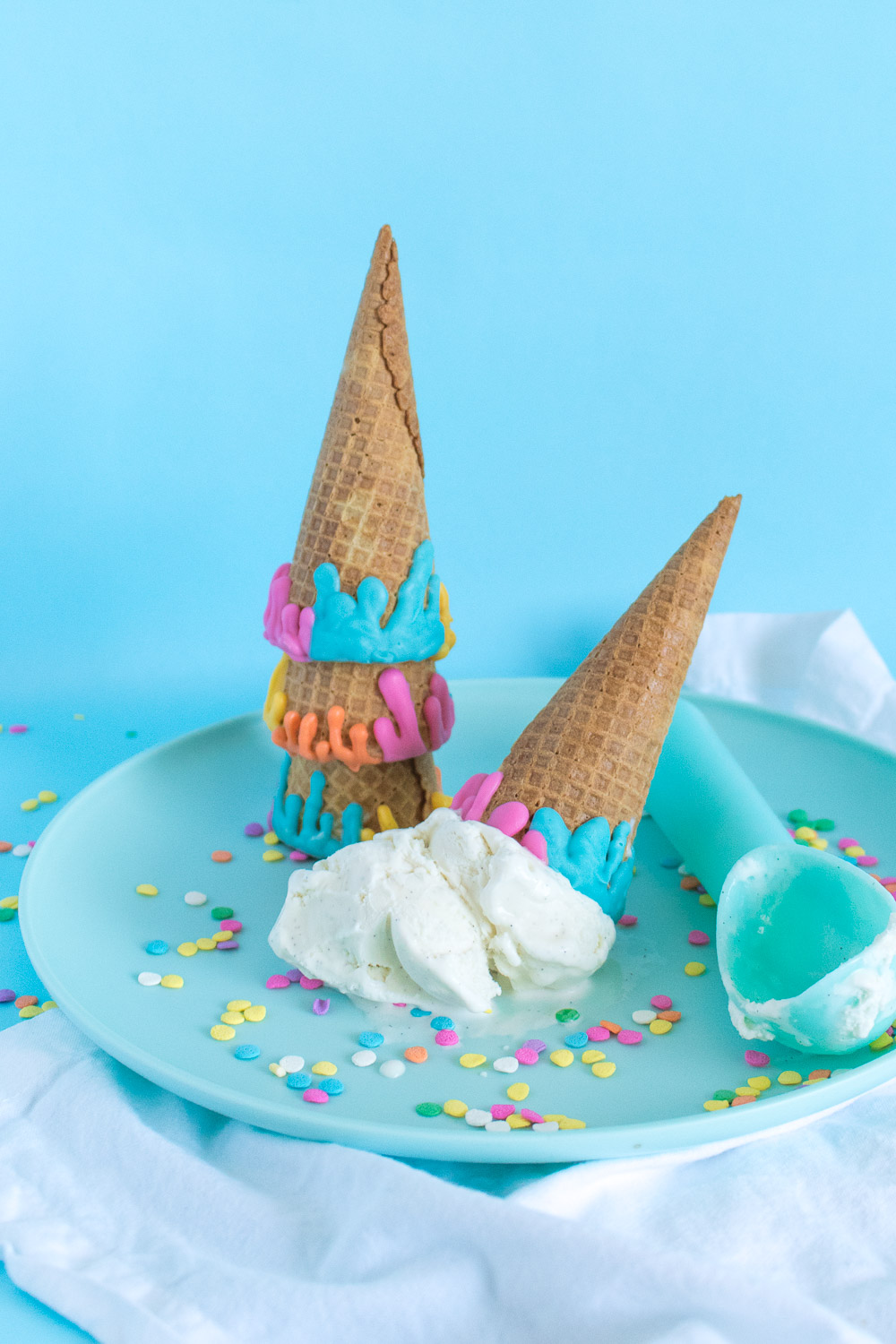 DIY Colorful Dripped Ice Cream Cones | Club Crafted