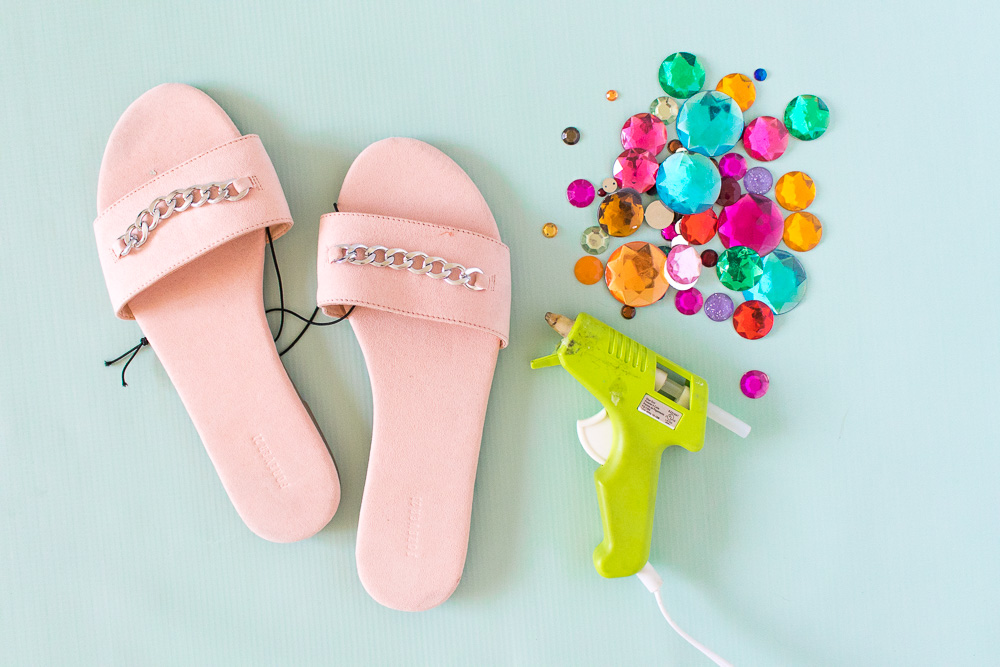 DIY Rhinestone Slider Sandals | Club Crafted