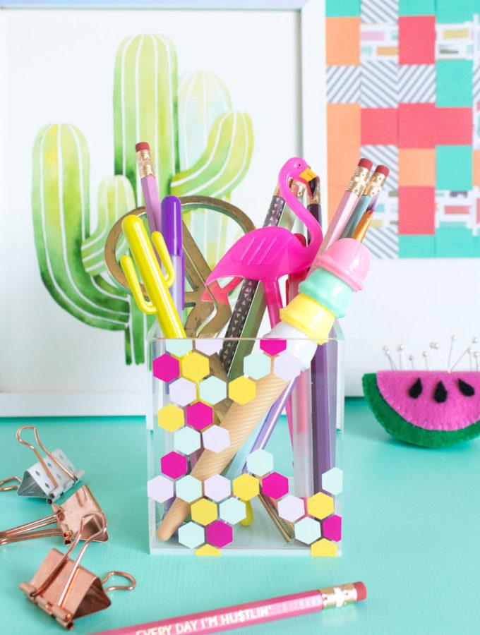 DIY Honeycomb Acrylic Organizer for your Desktop