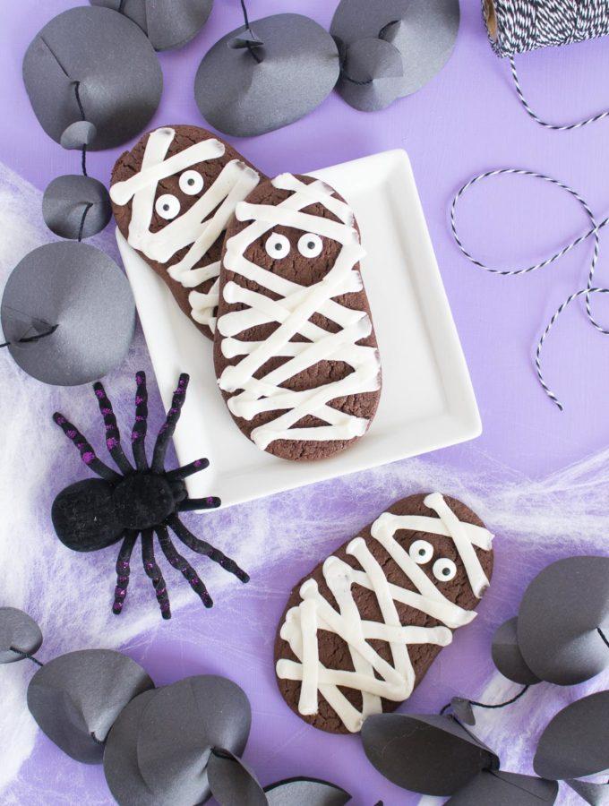 Chocolate Mummy Cookies for Halloween! (Cake Batter Cookies)
