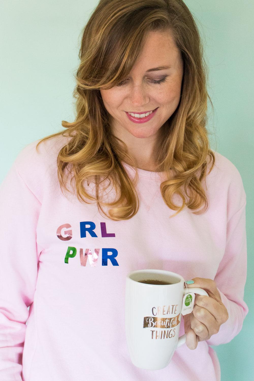 DIY Foiled Girl Power Sweatshirt | Club Crafted