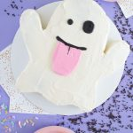 Emoji Ghost Cake with Halloween Candy