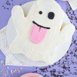 Emoji Ghost Cake with Halloween Candy