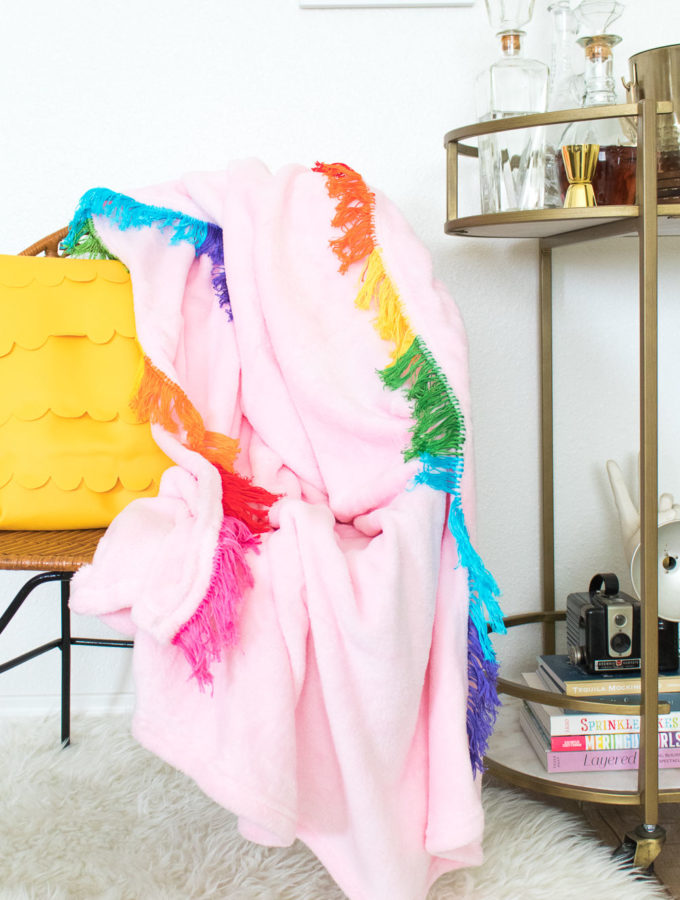 DIY Rainbow Fringe Blanket