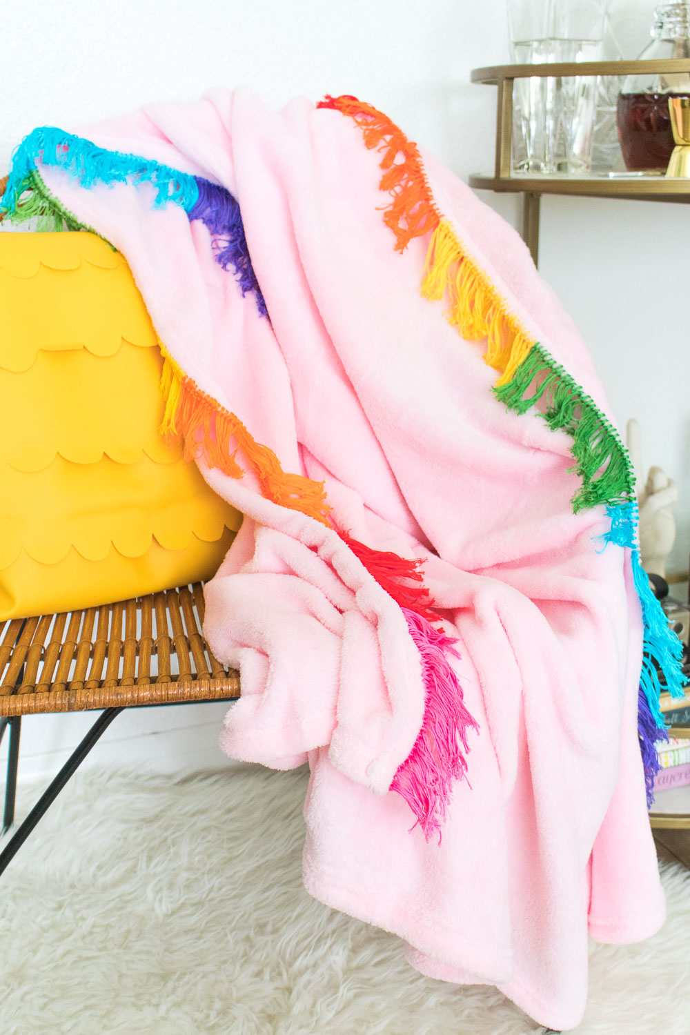 DIY Rainbow Fringe Blanket | Club Crafted