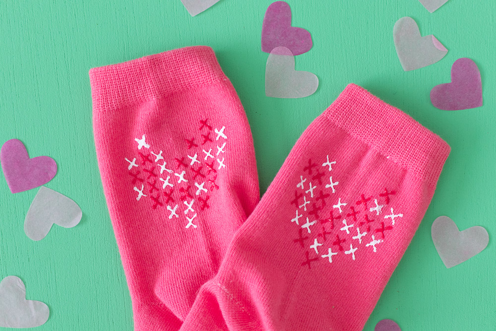 DIY Faux Cross Stitch Socks | Club Crafted