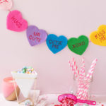 DIY Felt Conversation Heart Banner for Valentine's Day