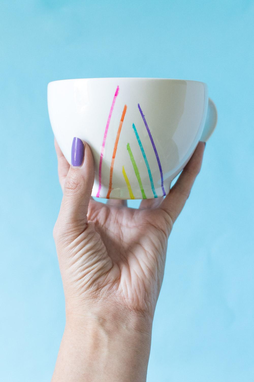 DIY Rainbow Striped Mugs | Club Crafted