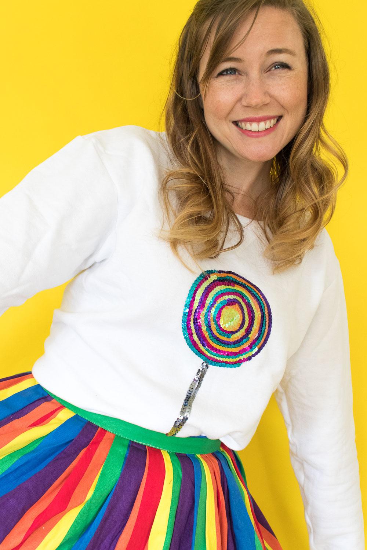DIY Sequin Lollipop Sweatshirt [+ a Video!] | Club Crafted