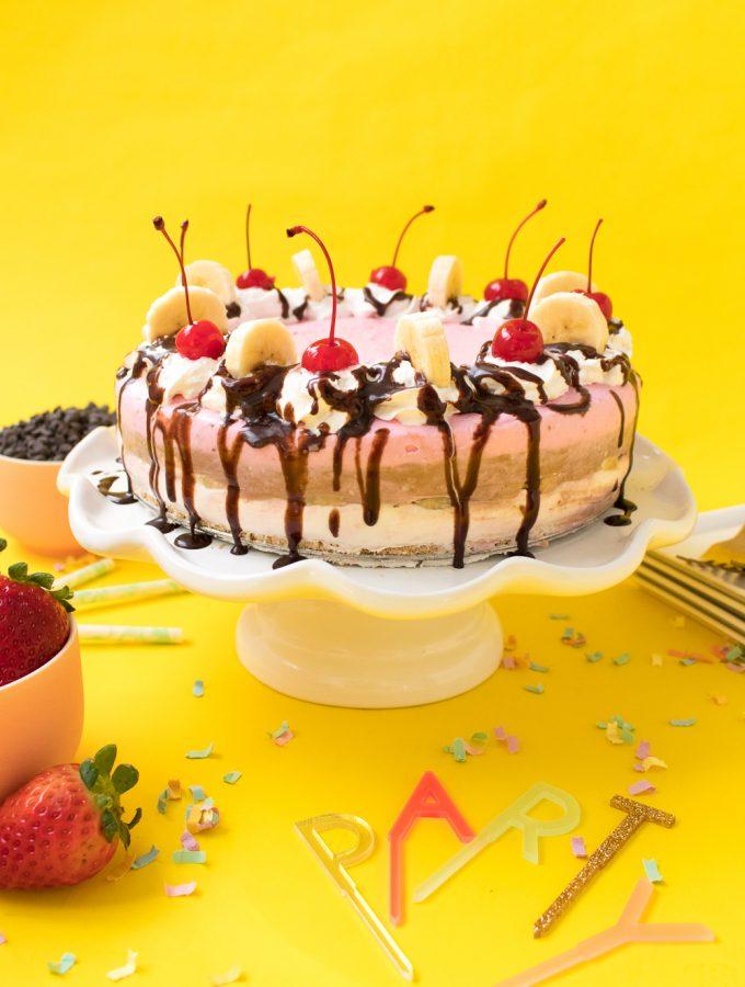 No-Bake Banana Split Cheesecake