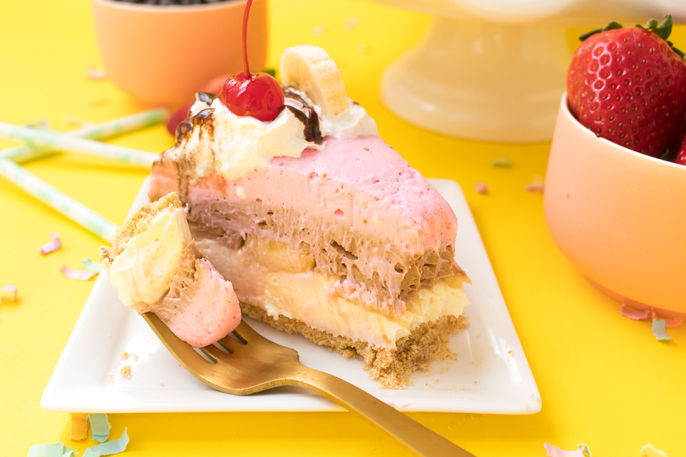 No-Bake Banana Split Cheesecake | Club Crafted