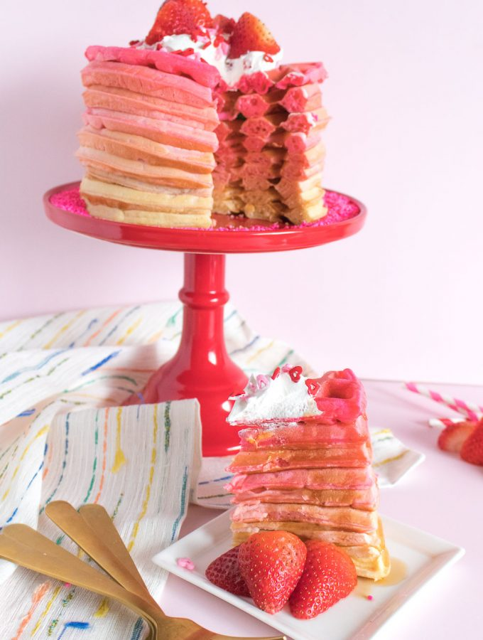 Pink Ombre Waffle Cake