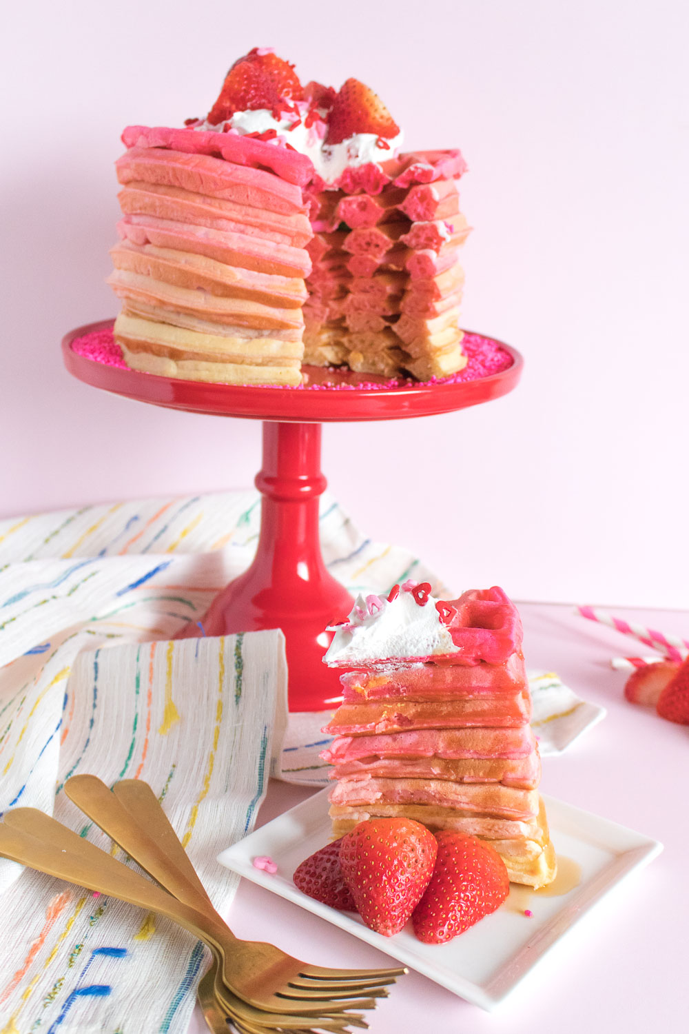 Pink Ombre Waffle Cake | Club Crafted