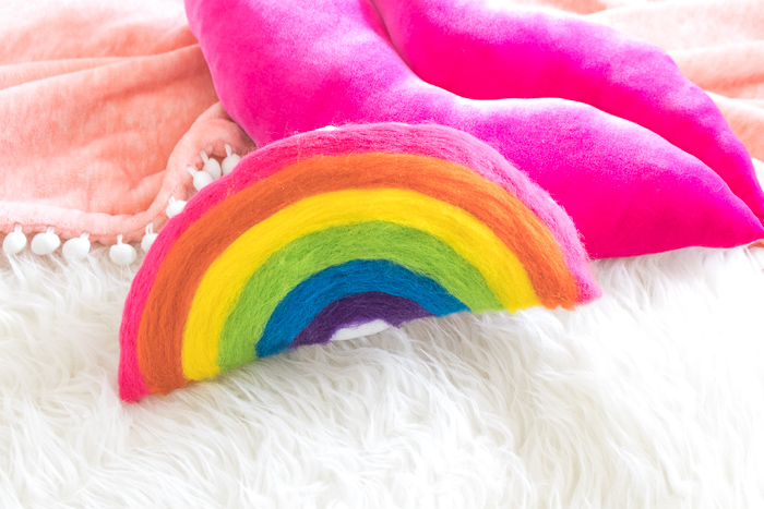 DIY Needle Felted Rainbow Pillow   Club Crafted