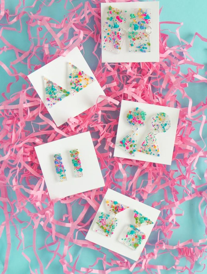 DIY 80s-Inspired Splatter Paint Earrings | Club Crafted