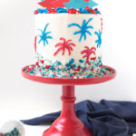 Red, White + Blue Firework Cake for 4th of July!
