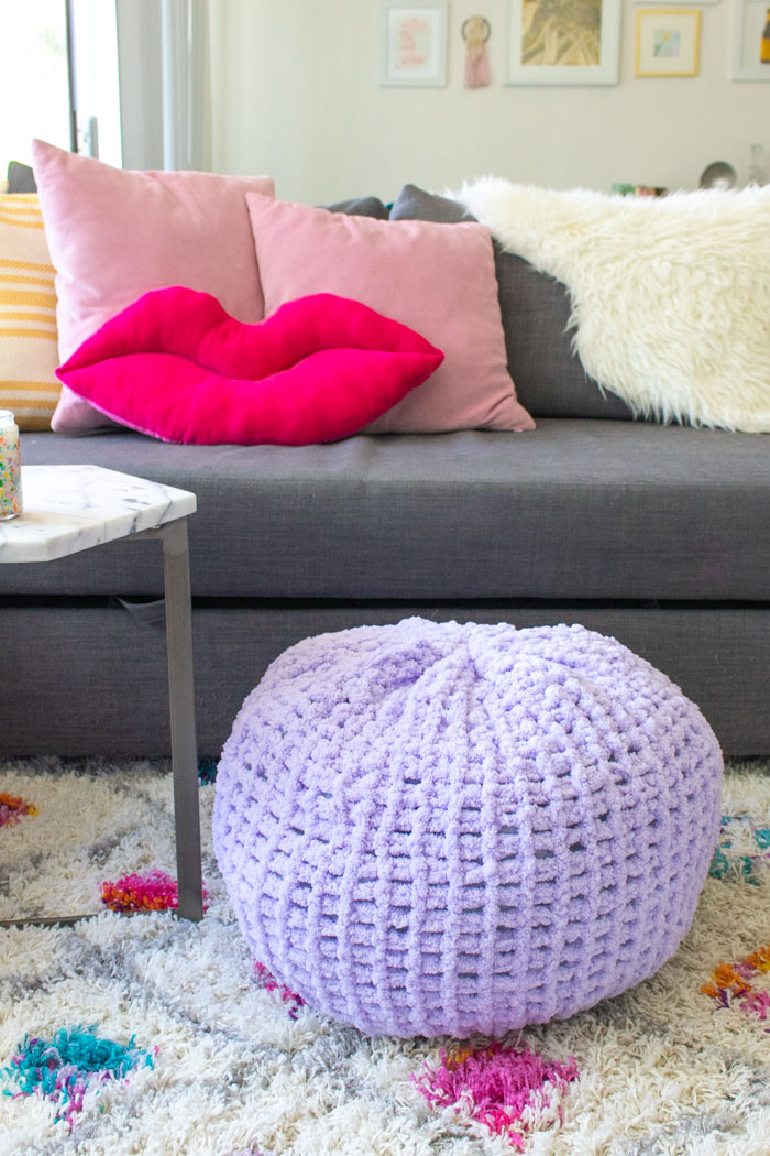 Easy DIY! How to Finger Knit a Floor Pouf | Club Crafted