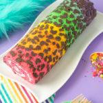 Lisa Frank-Inspired Rainbow Leopard Print Cake Roll