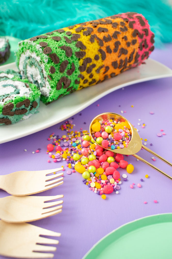 Lisa Frank-Inspired Rainbow Leopard Print Cake Roll | Club Crafted