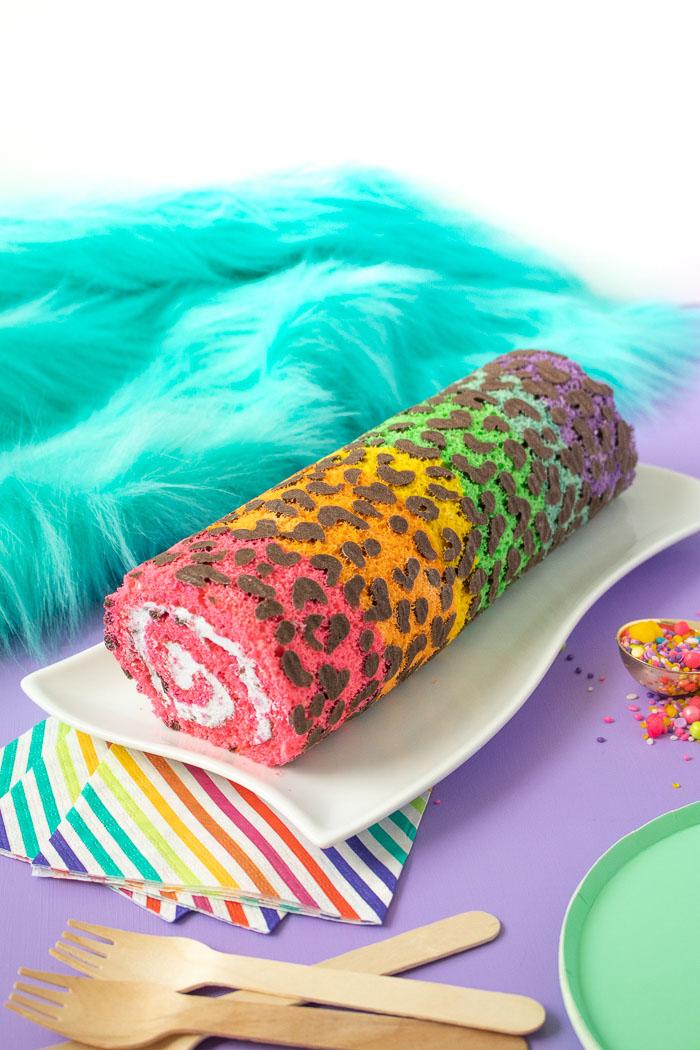 Lisa Frank-Inspired Rainbow Leopard Print Cake Roll | Club Crafted