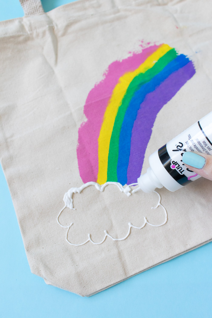 DIY Rainbow Paint Scraped Tote Bag | Club Crafted