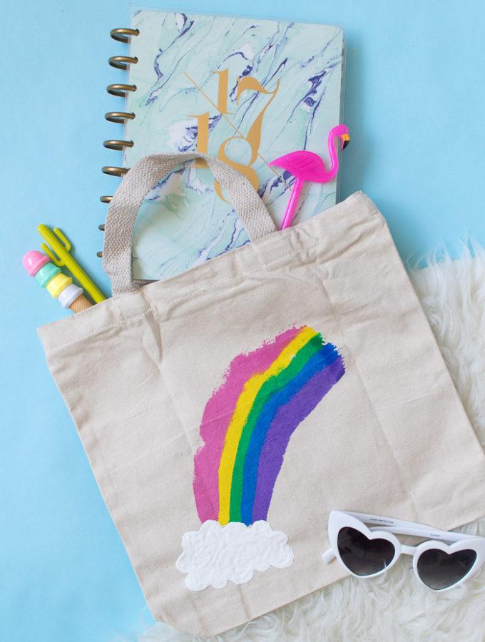 DIY Rainbow Paint Scraped Tote Bag