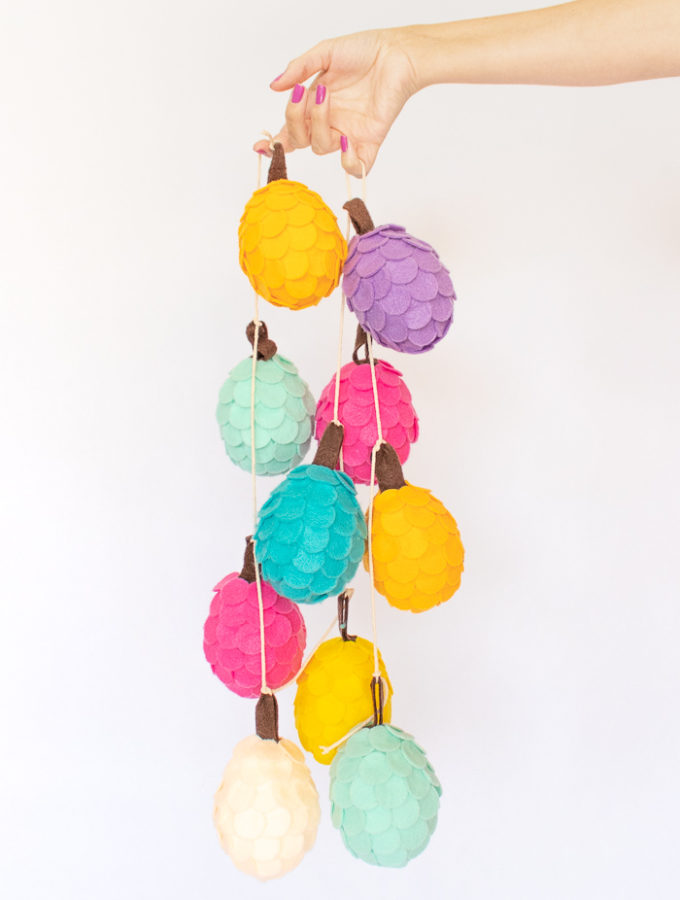 DIY Colorful Felt Pinecones
