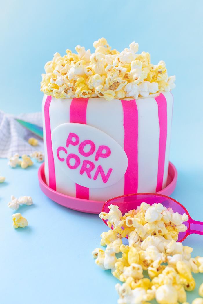Salted Caramel Popcorn Bucket Cake | Club Crafted