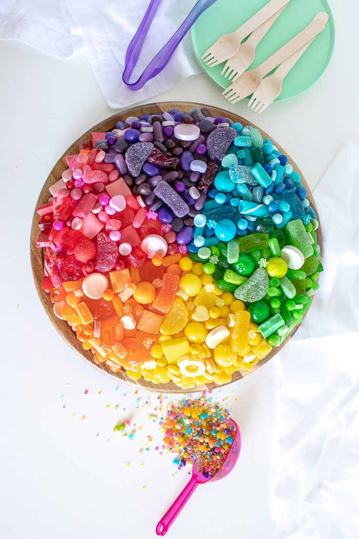 A Fun Candy-Covered Color Wheel Cake   Club Crafted