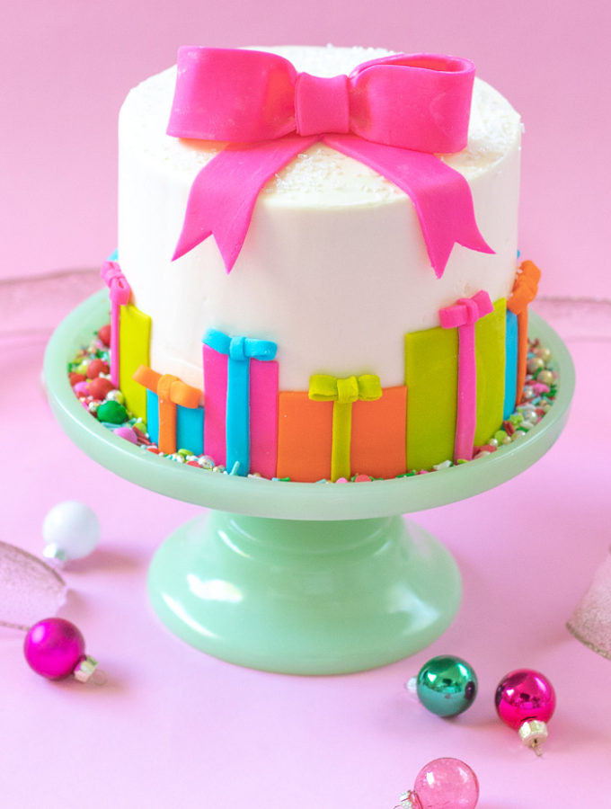 Colorful Christmas Gift Box Cake | Club Crafted