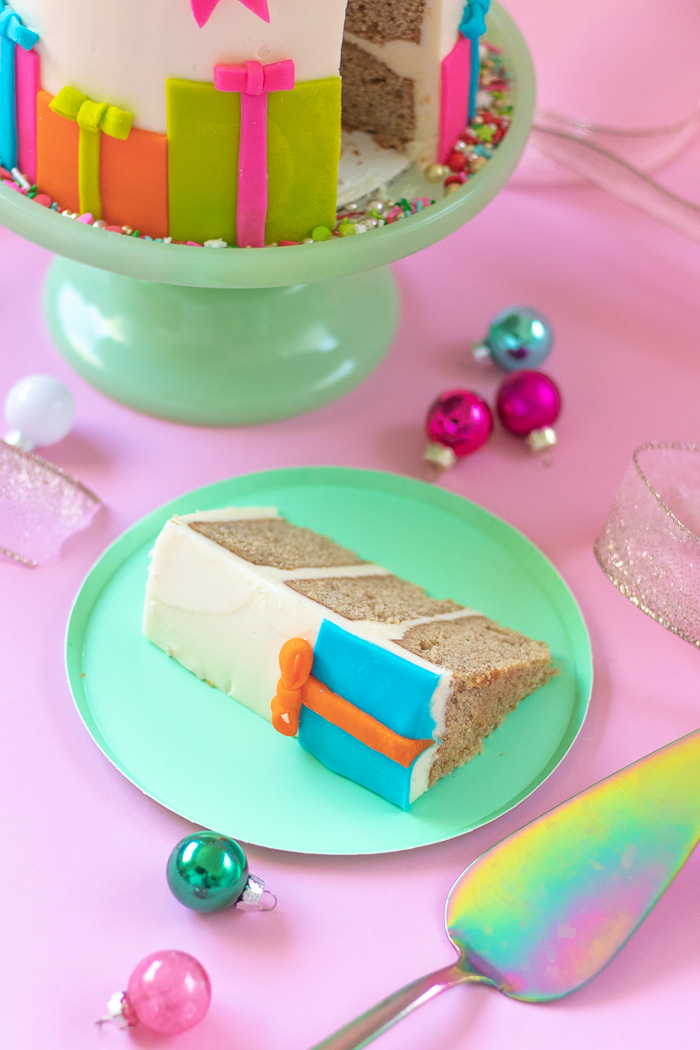 Colorful Christmas Gift Box Cake   Club Crafted