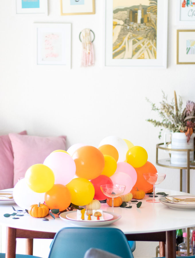 Pumpkin + Balloon Centerpiece for Fall Entertaining