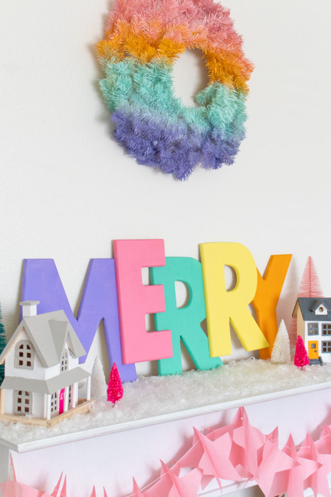 Large Colorful Merry Sign for Christmas Decor   Club Crafted