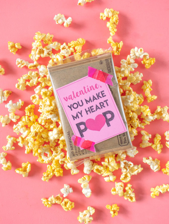 You Make my Heart POP! Printable Popcorn Valentines | Club Crafted