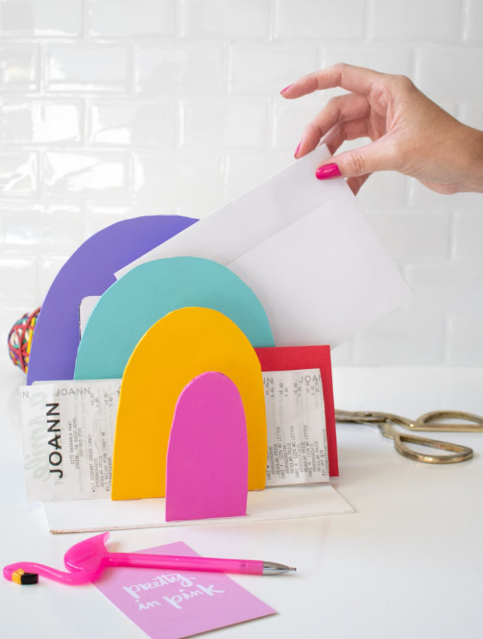 DIY Rainbow Paper Organizer | Club Crafted