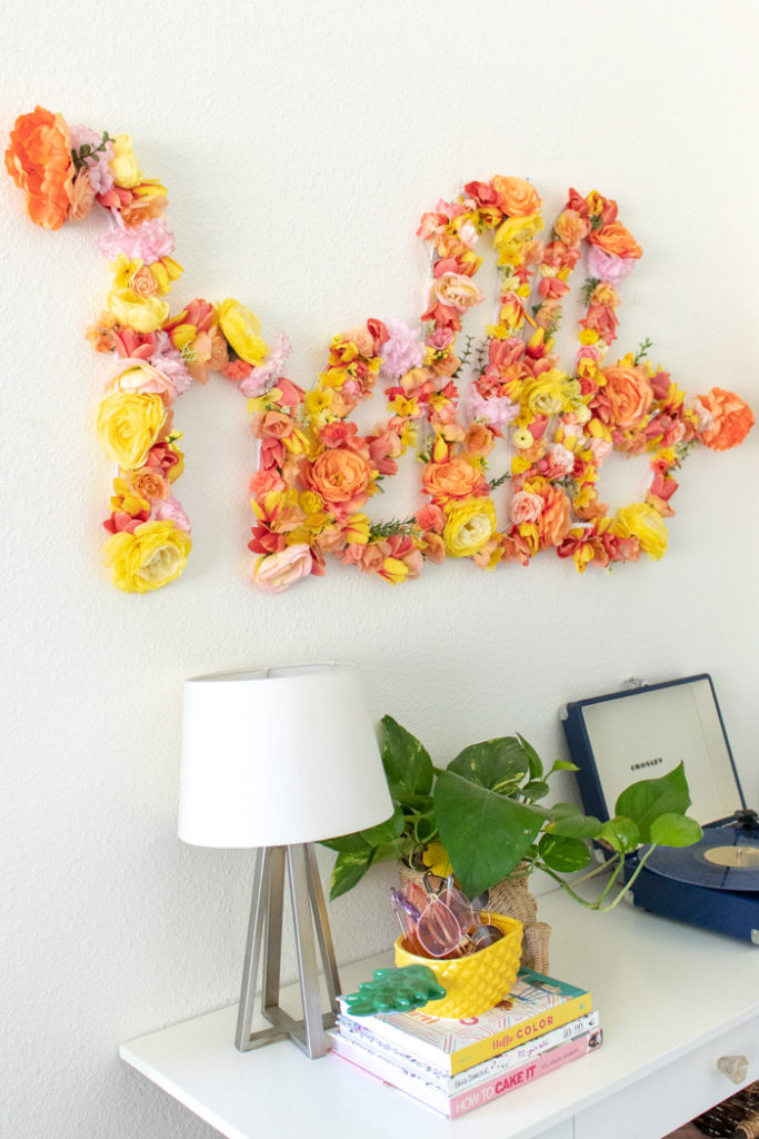 DIY Large Floral Word Art for Spring Home Decor | Club Crafted