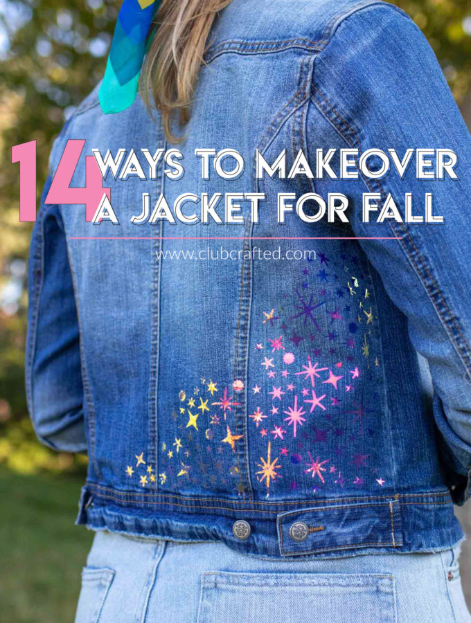 14 Ways to Makeover a Jacket for Fall // Find inspiration in these DIY jacket ideas for decorating a denim jacket for fall using supplies like vinyl, patches, paint, fabric and more! #fabric #nosew #womensclothing #diystyle #diyclothing #upcycle #fallstyle #fallclothing
