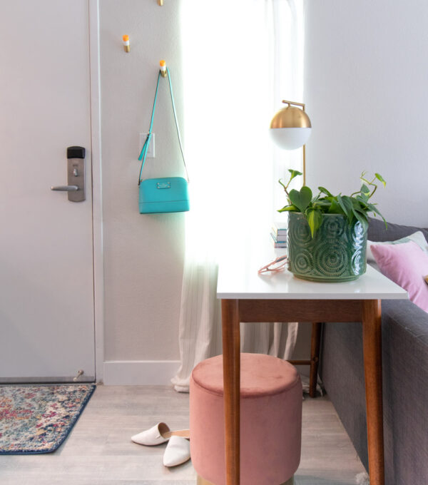 side view of an entryway in a small space